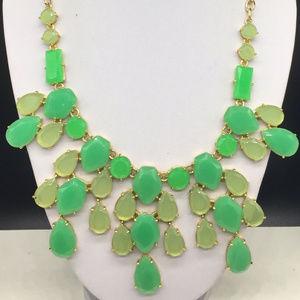 Stella & Dot Green Rhinestone Dangle Bib Necklace
